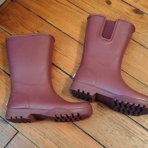 Sperry rain boots Maroon burgundy mid calf boots